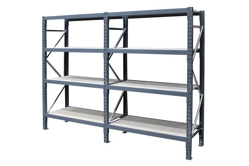 Steel Shelving - run of 2 bays with 4 levels